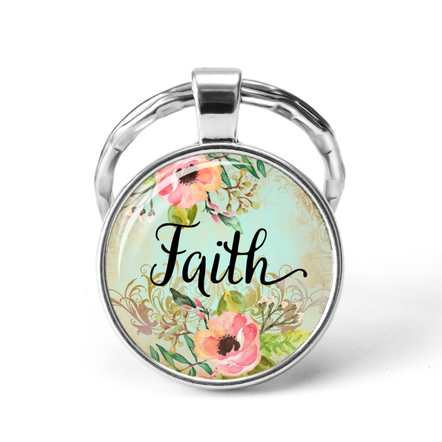 Confirmation Bible Verse Glass Pendant Keychain