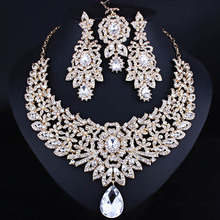 FARLENA Jewelry Clear Rhinestones Necklace Earrings and Frontal Chain set for Bridal Classic Wedding sets