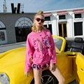 2017 spring new T-shirt female long-sleeved long paragraph large size loose round neck thin cotton shirt fashion brand women