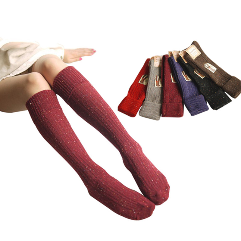 Autumn Winter Wool Blended Socks Long Warm Socks Turn Up Rib Dot Boot Women Girls Lady Calcetines Mujer Lady Girl Meias Hosiery