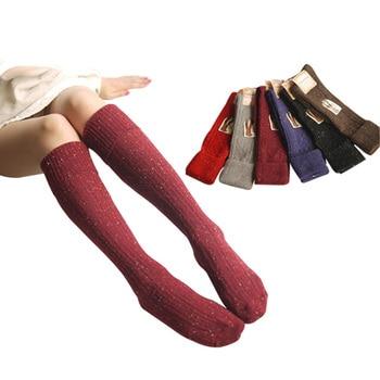 Calcetines con diseño mezclado de lana para otoño e invierno, Calcetines largos cálidos con borde doblado y Puntilla, Calcetines para mujer y chica