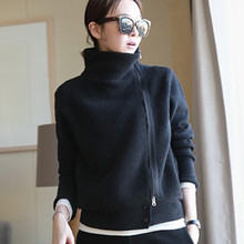 2019 New Double layer thickening loose turtleneck knit sweater female sweater Zipper cardigan Ladies' Solid Cashmere Sweater(China)