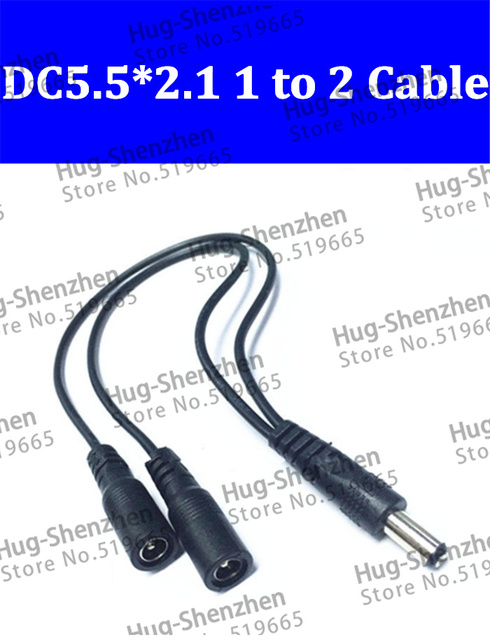 25pcs DC Power 12V Pigtail 2.1*5.5mm 1 Male to 2 Female Y Splitter Plug power Cable Jack for led lamp and monitoring