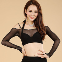 2015 New Arrivals Transparent Belly Dance Tops Gauze Diamond Sexy Belly Dance Top Sets For Women