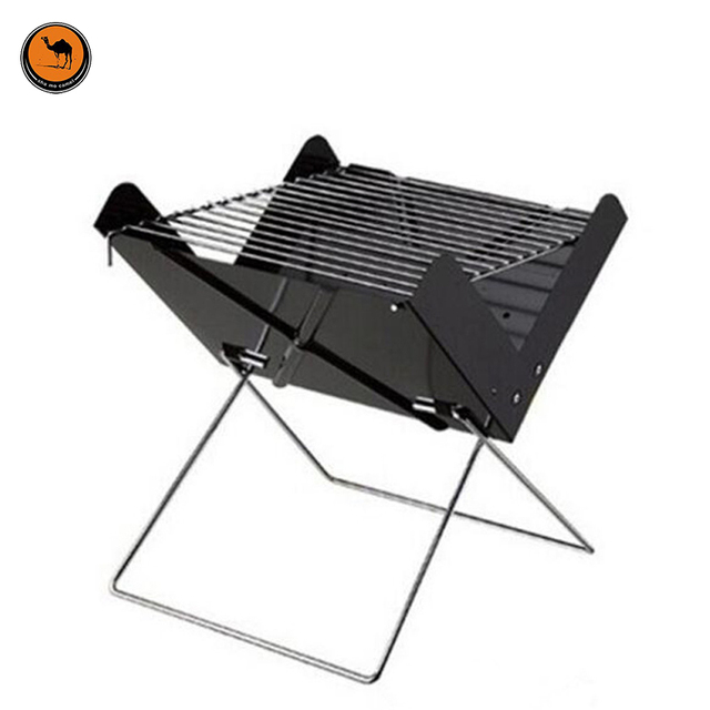 More Convenient Black Iron X Style Foldable BBQ Oven Outdoor Portable Barbecue Charcoal Grill Can Fits