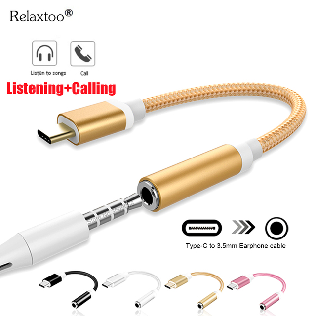 Type-C to 3.5mm Earphone cable Adapter usb 3.1 Type C USB-C male to 3.5 AUX audio female Jack for Samsung Huawei Xiaomi Mi 8 A2