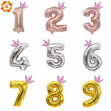 1Set 32inch Gold/Silver/Rose Gold Figures Crown Foil Float Air Inflatable Balloon For Boys Girls DIY Birthday Party Decoration
