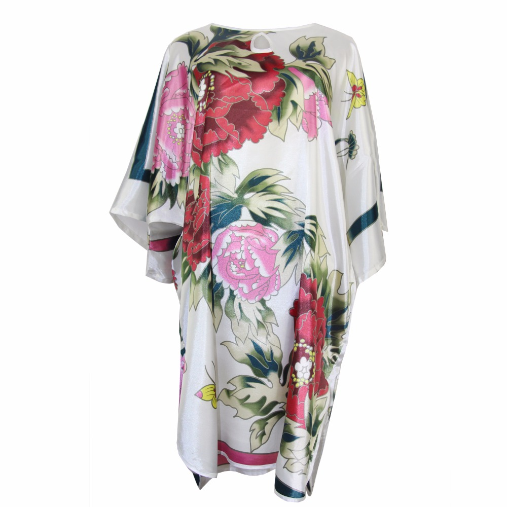 White Flower Nightwear Women Nightdress Bathrobe Satin Rayon Summer Home Dress Sexy Loose Robe Print Sleepwear Kaftan One Size