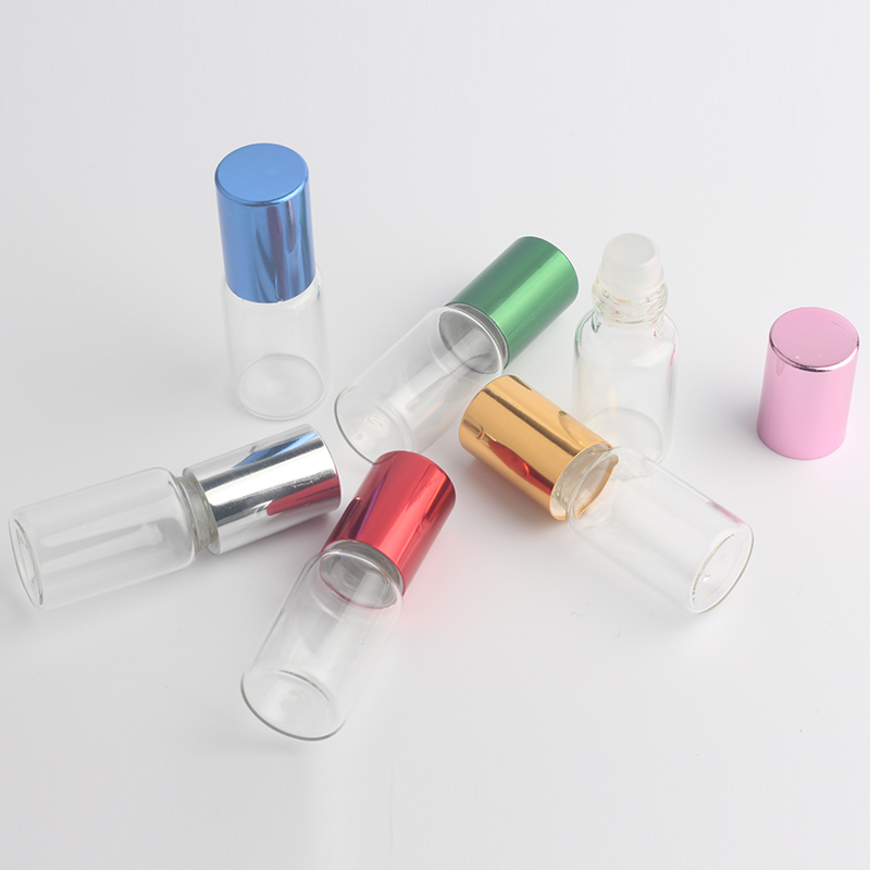 6pcs Clear Glass Essential Oil Roller Bottles with Glass Roller Balls Aromatherapy Perfumes Lip Balms Roll On Bottles 5ml 10ml