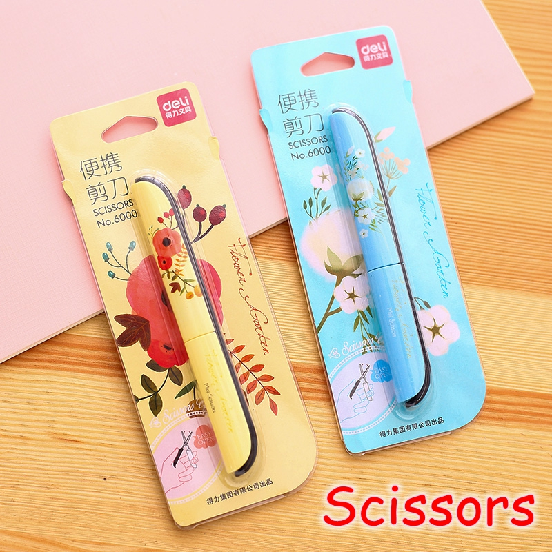 [Deli] Wholesale (12 Pieces/Lot) Cute Flower Folding Craft Paper Handmade Scrapbooking Scissors For School Kids No.6000