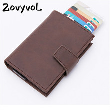 ZOVYVOL 2019 fashion vintage PU Leather Unisex Business ID Holders RFID Blocking Credit Card Holder Aluminum Box Wallets