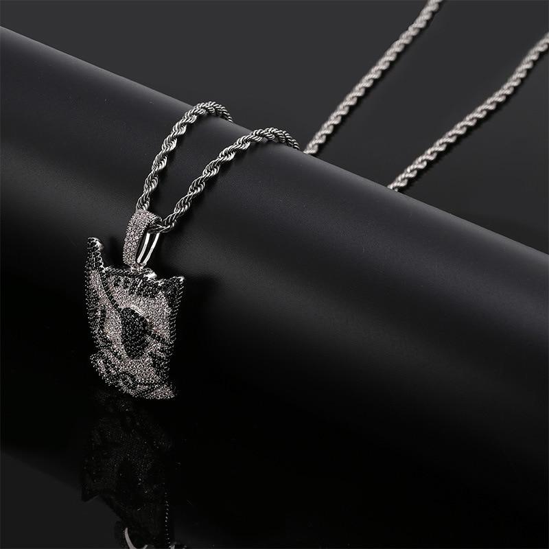 Missfox collier pendentif en forme de chat borgne Pirate personnalité noir et blanc Style dessin animé collier en cuivre Zircon or bijoux pour homme