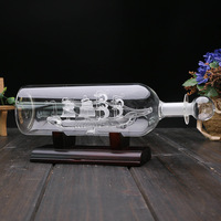 Crystal Decorative wine bottle Sailboat bottle Glass Miniatures Feng Shui Arts Crafts For Gifts Home Decor Figurines Ornaments