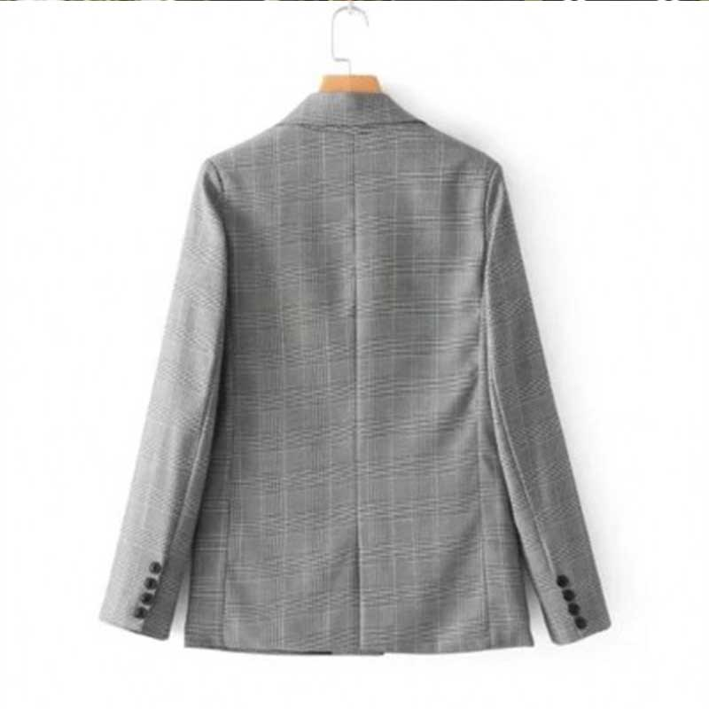 liva girl Classic Plaid single Breasted Women Jacket Blazer Notched Collar Female Suits Coat Fashion Houndstooth Outwear 2019 in Blazers from Women 39 s Clothing