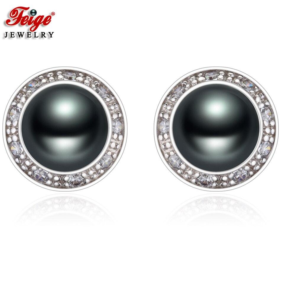 Vintage Black Pearl Hoop Earrings for Women Gifts 8-9MM Freshwater Pearls Charms Earring Handmade Fine Jewelry Wholesale FEIGE