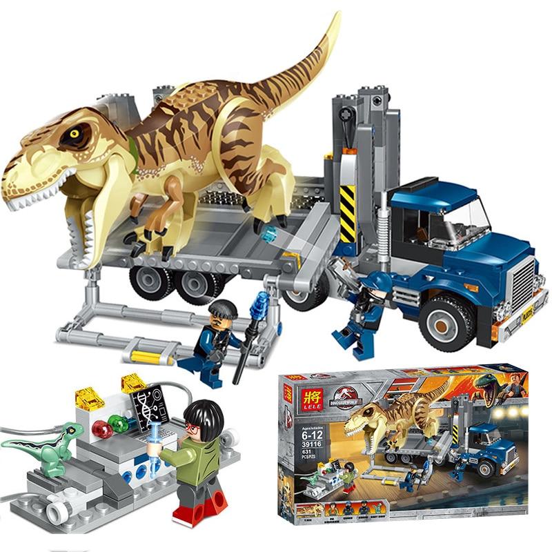 631Pcs Jurassic Dinosaur World Park Building Blocks Tyrannosaurus Rex Truck Bricks Set Compatible Legoings Toys for Children 79151 lele jurassic dinosaur world tyrannosaurs rex model building blocks enlighten figure toys for children compatible legoe