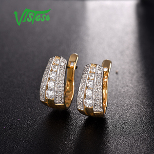 Image 5 - VISTOSO Gold Earrings For Women 9K 375 Yellow Gold Glamorous Elegant Sparkling Diamond Luxury Wedding Engagement Fine Jewelry