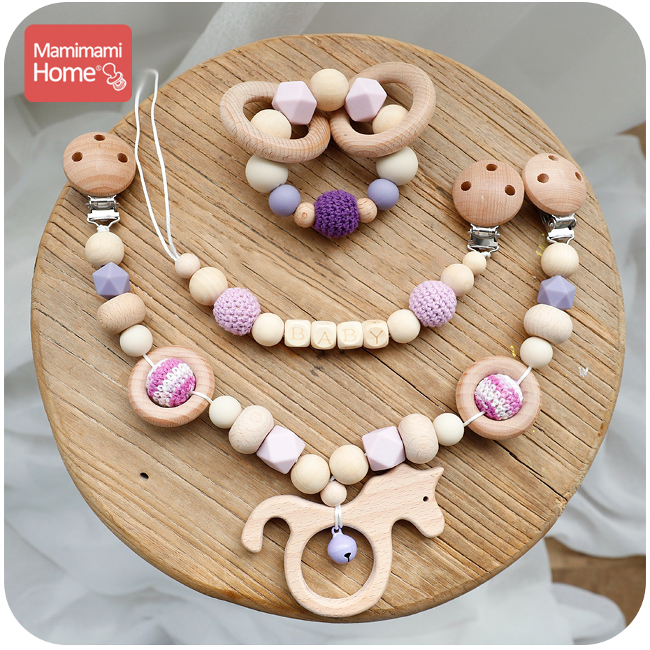 Mamihome 1set Wooden Teether Silicone Beads Baby Bell Cart Chain Crochet Beads Pacifier Clip Chain Pendant Rodent Soother Clasp