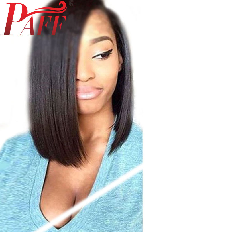 PAFF Short Bob Lace Front Human Hair Wigs With Baby Hair PrePlucked Straight Brazilian Remy Hair Wigs Bleached Knots Middle Part