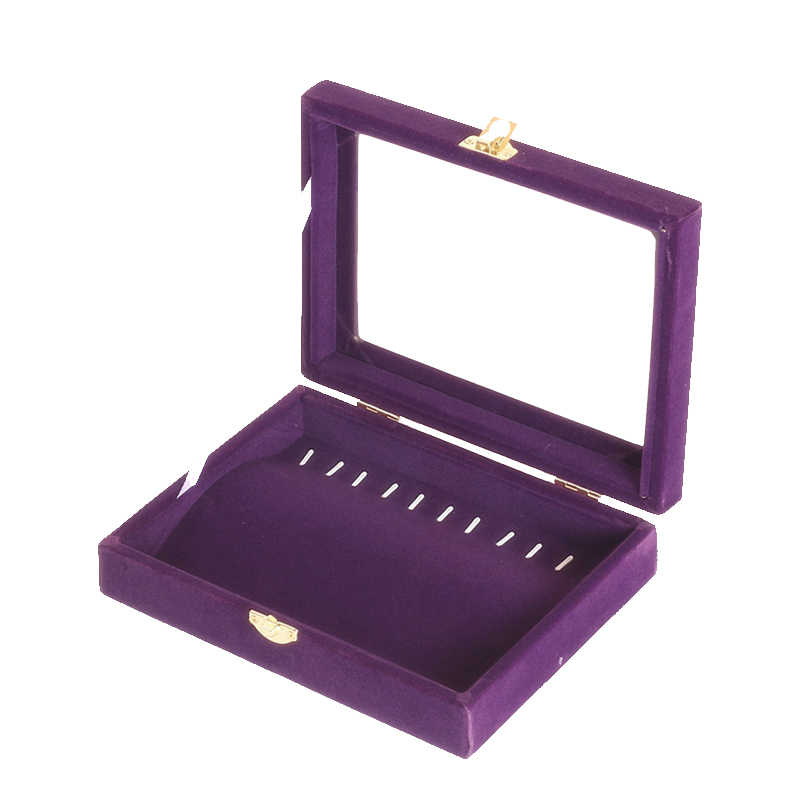 Baru 2014 Gratis pengiriman kalung gelang pallet box display perhiasan kotak ungu beludru tutup kotak perhiasan