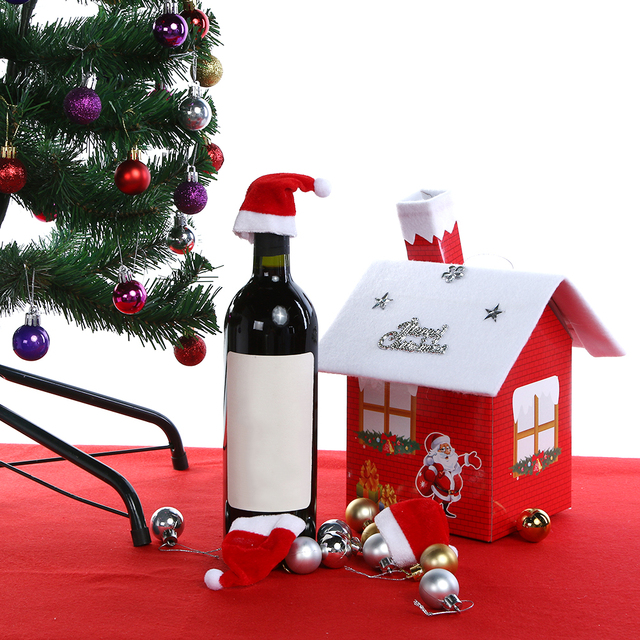 7dd0e2d02332c Mini Santa Hat Bottles Cover Red Christmas Wine Cover Cap Mouth Claus Xmas  Gift Christmas Decorations for Home