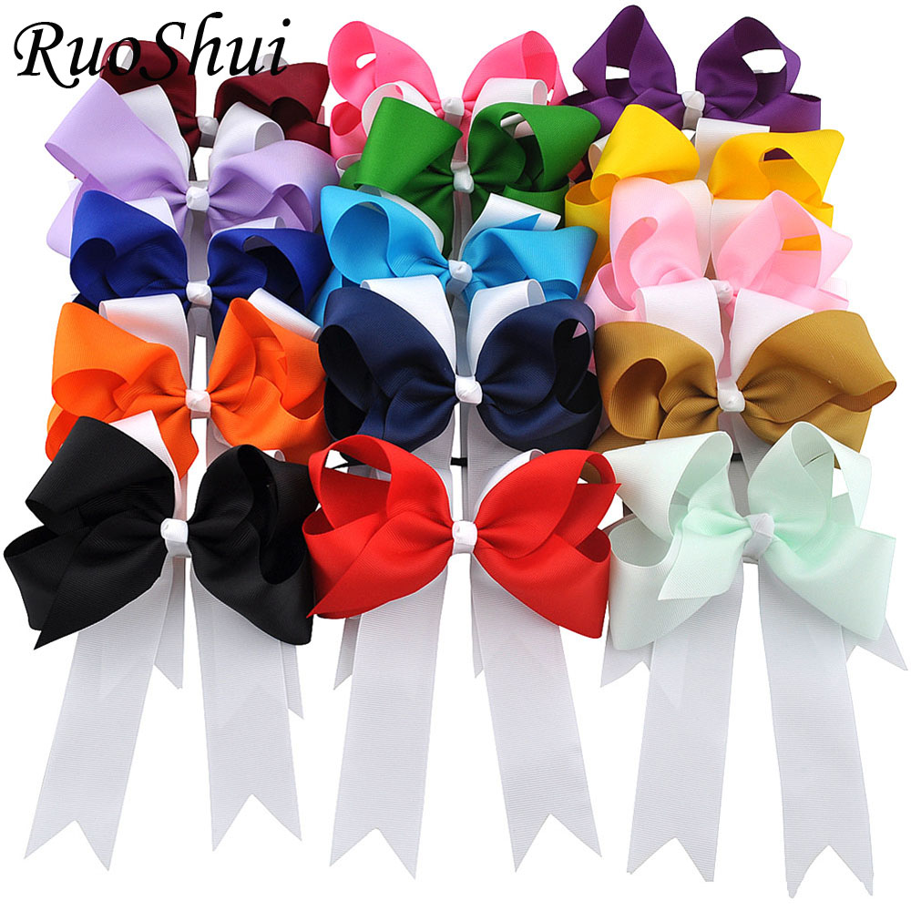 15pcs 6 Boutique Ponytail Holder Bows Girl Pinwheel Cheer Bow Elastic Hair Bands For Children Grosgrain Ribbon Hair Accessories pretty girls boutique shining glitter bow hair bands for dance party children toddler hair accessories
