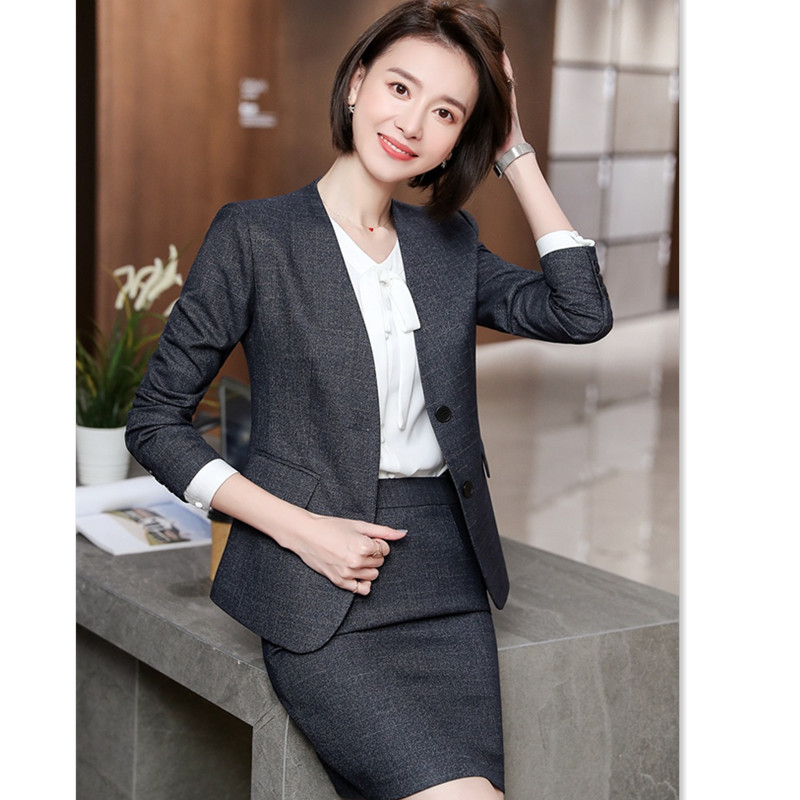 Office Lady Suit Set Skirt Suit With Pockets Elegant V Neck Blazer+Skirt 2 Pieces Formal Career Interviewee Skirt Suits Ow0521