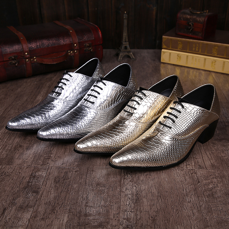 New Imitate Genuine Leather Men Oxford Shoes Pointed toes Lace-Up Solid Snakeskin Gold Sliver High Heel Male Dress Shoes Fashion gold sliver leather analog fashion