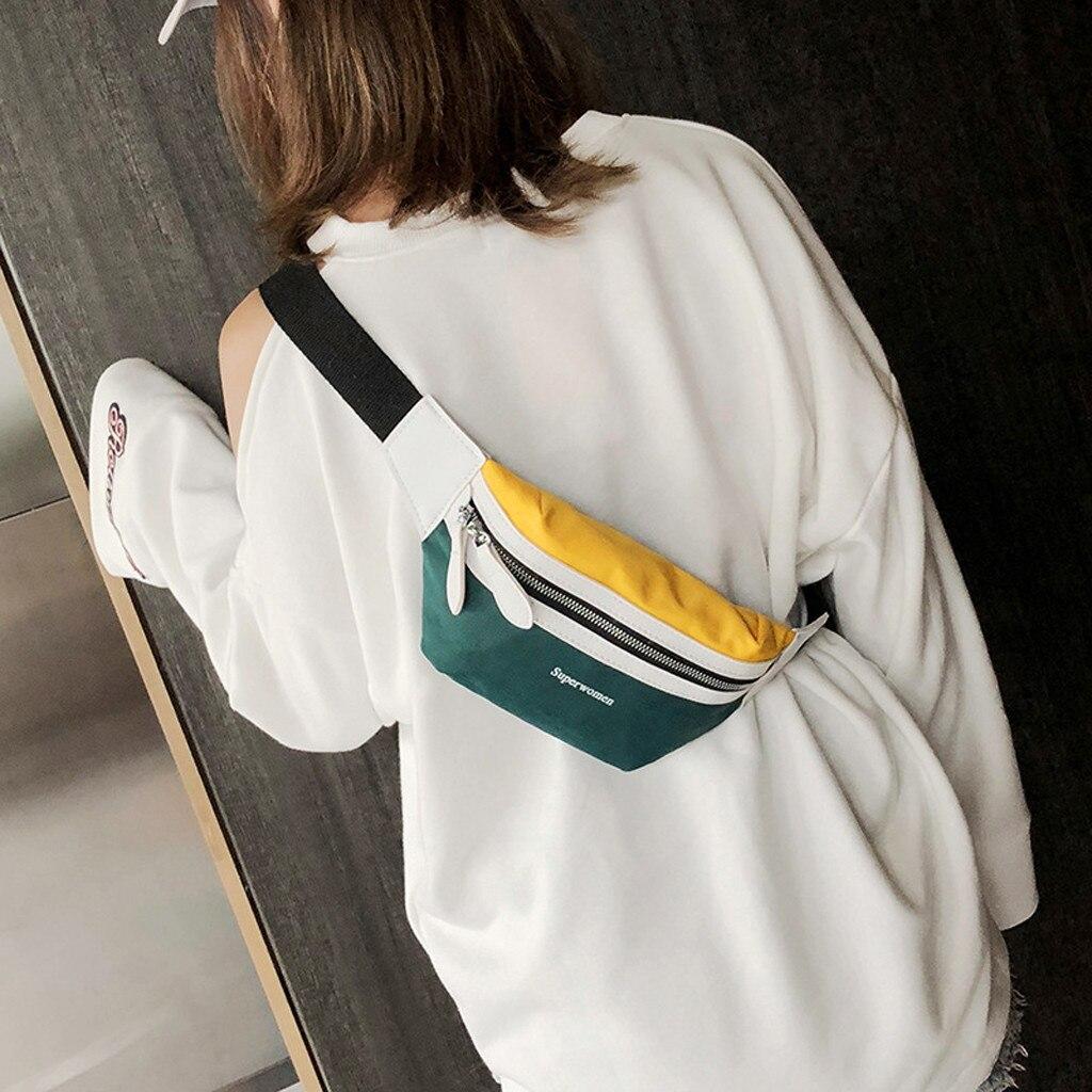 Sequin Women Waist Bag Women's Fashion Canvas Letter Shoulder Messenger Crossbody Chest Bags Packs поясная сумка#616P