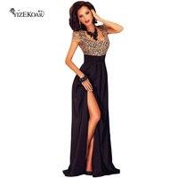Короткий рукав летние женские удивительные золотые Кружева наложения разрез Элегантные женские макси платья для вечеринки Vestidos Largos LC60809