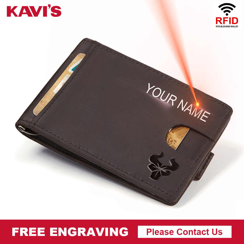 KAVIS Slim Men Genuine Leather Money Clip Bifold Male Purse Billfold Wallet Female Clamp for Money Card Case Holder Free Name