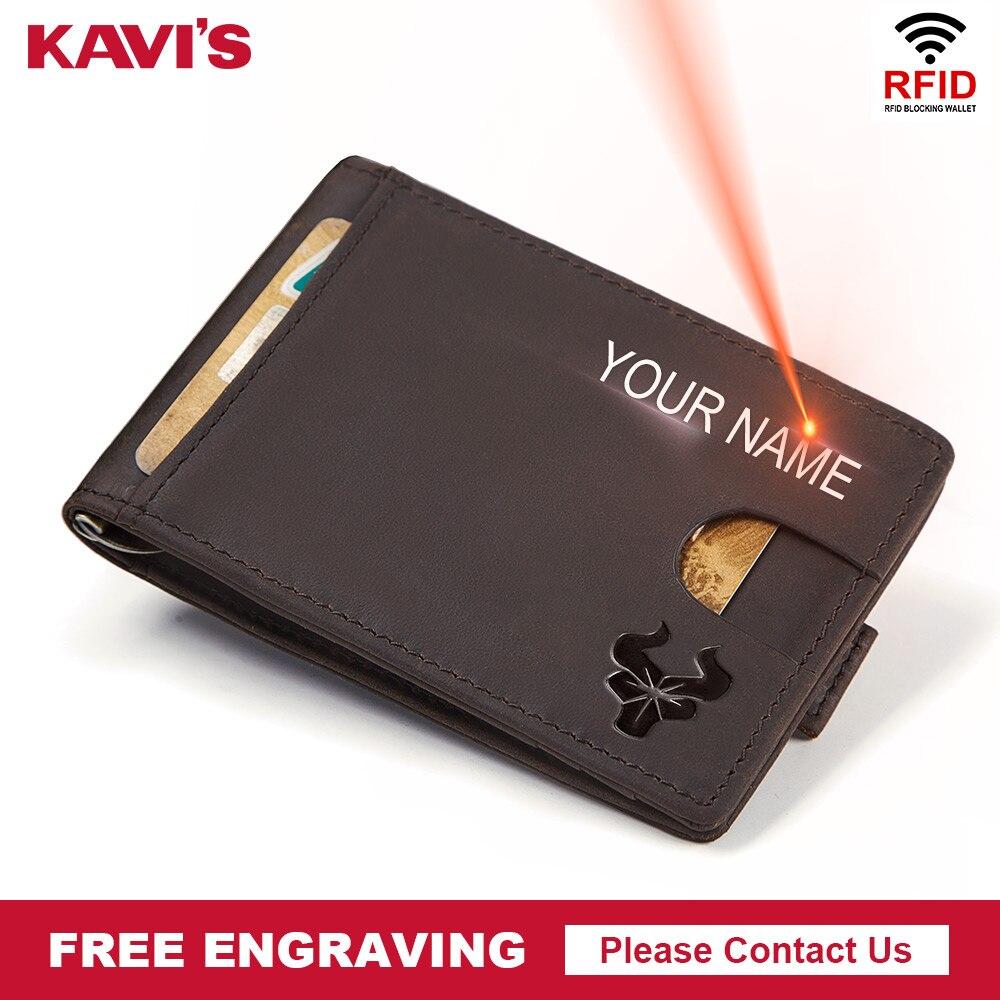 KAVIS Slim Men Genuine Leather Money Clip Bifold Male Purse Billfold Wallet Female Clamp for Money Card Case Holder Free Name