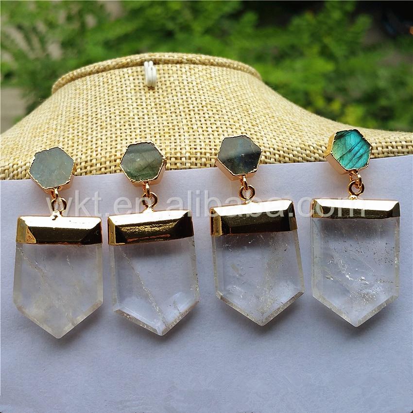WT E267 Unique Quartz Point Doule Stone Dangle Earrings Natural point quartz stone hexagon labradorite Fashion