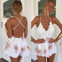 Ladies Summer Fashion New Lace Stitch Cross Strap Sexy Casual Print Deep V-neck Short Wide Legs Jumpsuit shein vadim 40*(China)