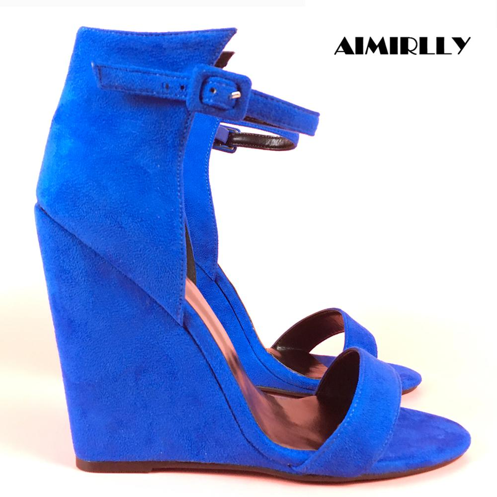 Aimirlly Women Shoes Sandals Wedge Heel Ankle-Buckle Autumn Summer Ladies Blue Cover