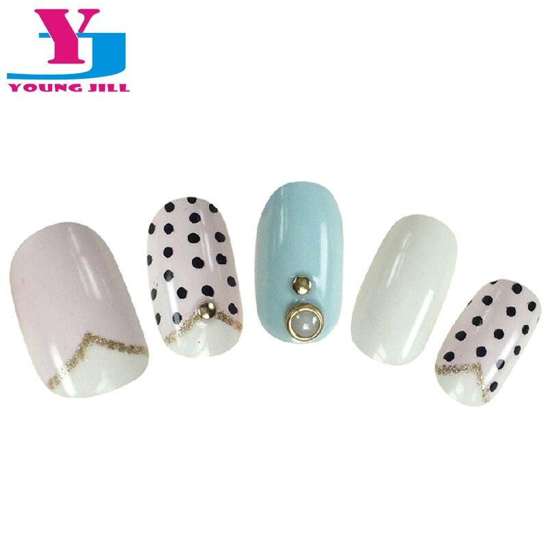 NºCute Dot Design Fake Nail 3D Pearl Decoration False Nail Tips Full ...