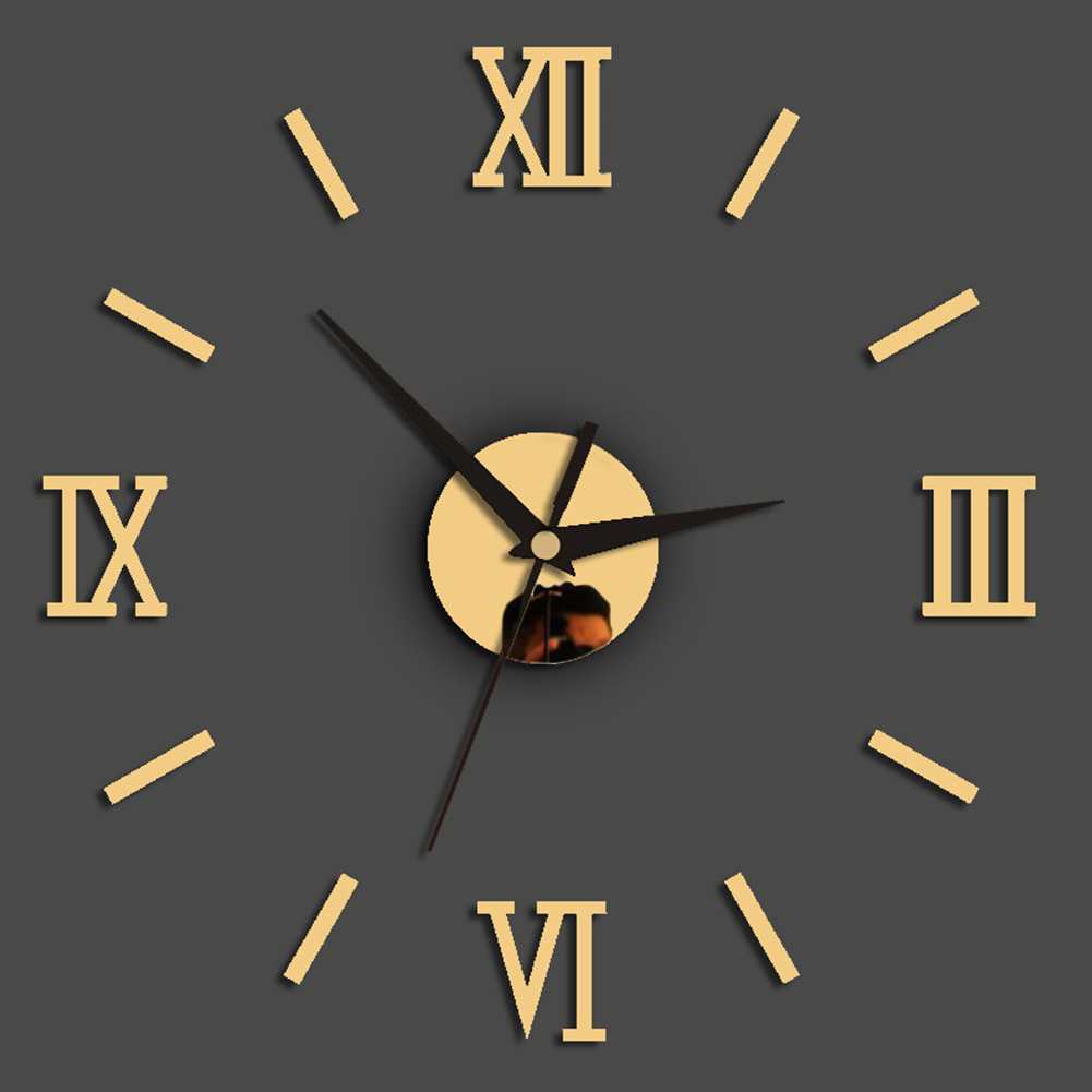 Decoration Removable Roman Numerals Wall Clock Quartz 3D Stickers Office Modern Art For Home Mirror DIY Living Room Fashion