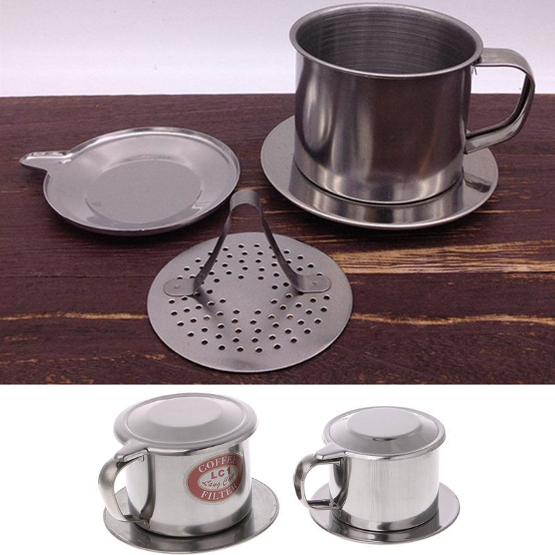New S/L Size Vietnamese Coffee Filter Stainless Steel Maker Pot Infuse Cup Serving Delicious