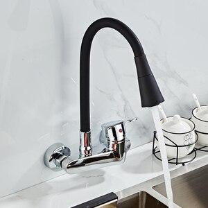 Image 5 - ウォールマウント台所の蛇口シングルハンドルキッチンミキサータップデュアル穴ホットとコールド蛇口 360 度自由に回転