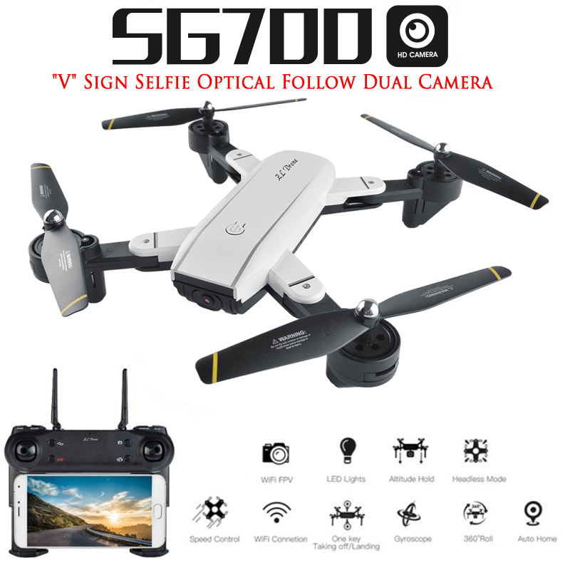 SG700 RC Qudacopter with WiFi FPV Camera Foldable Selfie Drone 6-Axis Gyro Altitude Hold Headless RC Helicopter VS E58 XS809HW jmt cg030 foldable 0 3mp camera drone wifi fpv 6 axis gyro altitude hold headless rc quadcopter mini drone app control rc dron