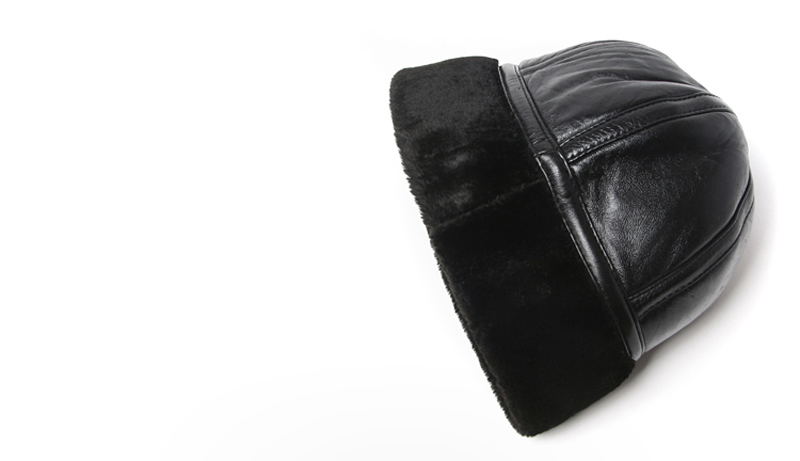Chapeau D'hiver en cuir noir