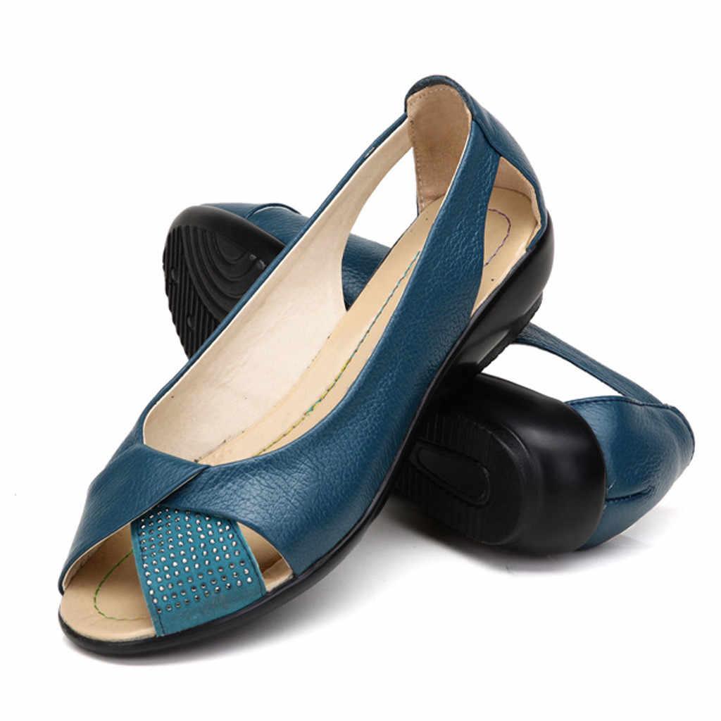CHAMSGEND Sommer Neue Casual flache mit mom sandalen leder flache fisch mund casual komfort wilden outdoor sandalen