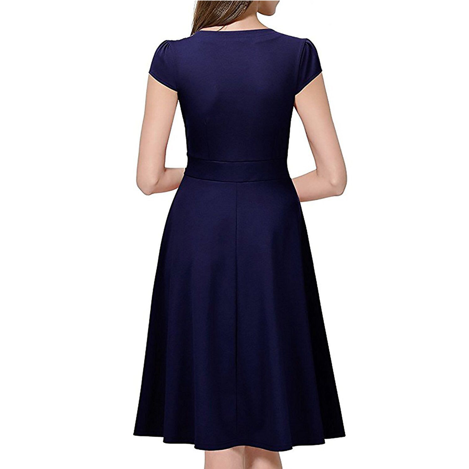 Oxiuly Audrey Hepburn 50s Vestidos Womens Dress Formal V Neck Casual Office Wear Working Bodycon Knee Length A-line Dresses 2