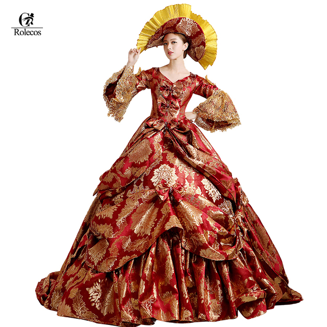 260b70ca57de Rolecos Brand Ladies Medieval Renaissance Victorian Dresses Red Gold Masquerade  Costumes Queen Ball Gowns For Ladies