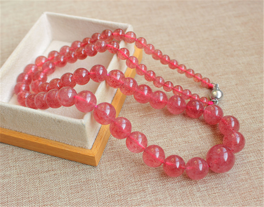 mm Genuine Natural Red Strawberry Quartz Crystal Clear Round Beads Jewelry Long