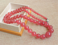 5 16mm Genuine Natural Red Strawberry Quartz Crystal Clear Round Beads Jewelry Long Chain Necklace Women