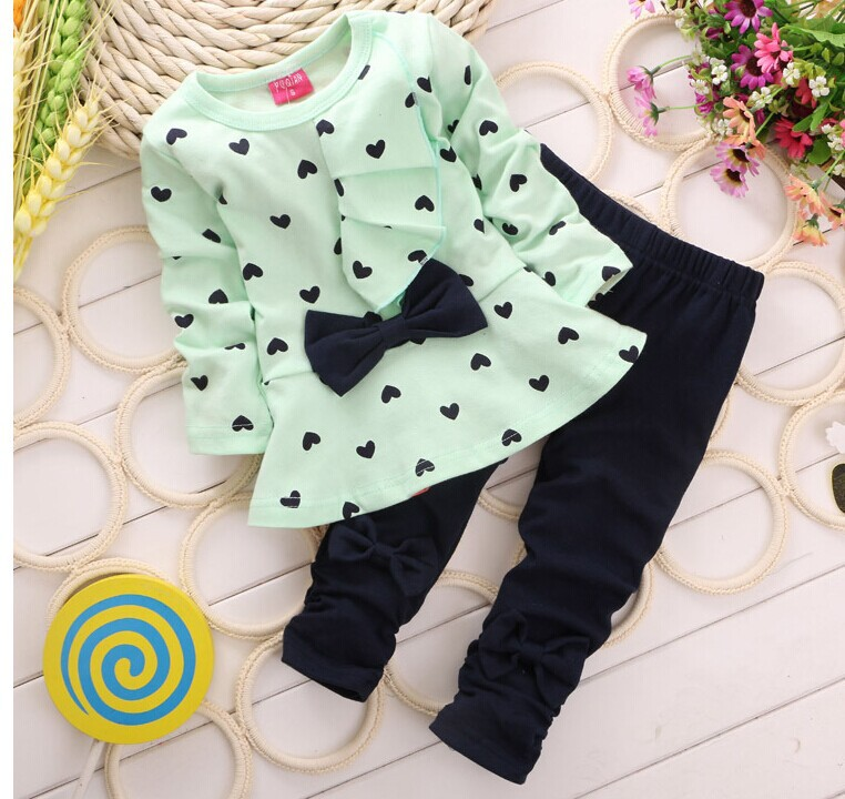 Baby Girls Clothing Sets New Style Cotton Kids Clothes Sets Long Sleeve Shirt + Pants 2 pieces Suit Girls Minnie Clothing Sets