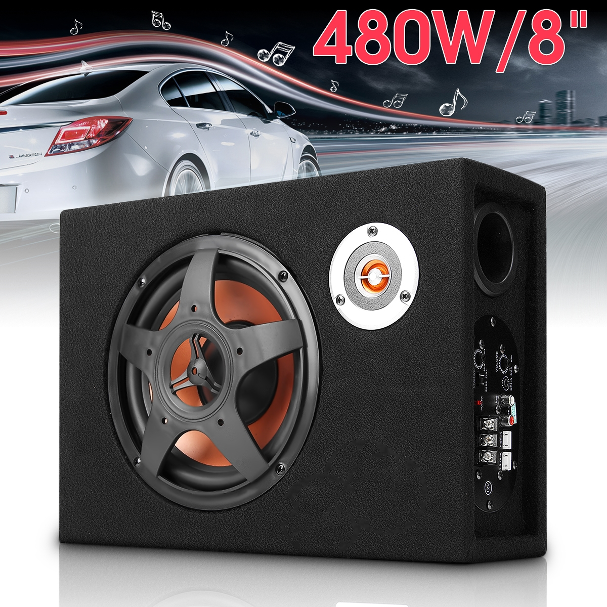8 inch bluetooth car home subwoofer under seat sub 600w stereo subwoofer car audio speaker music system sound woofer Mini 8 Inch Car Ultra Thin Under-Seat Subwoofer Speaker 480W Vehicle Car Subwoofer Modified Speaker Stereo Audio Bass Amplifier