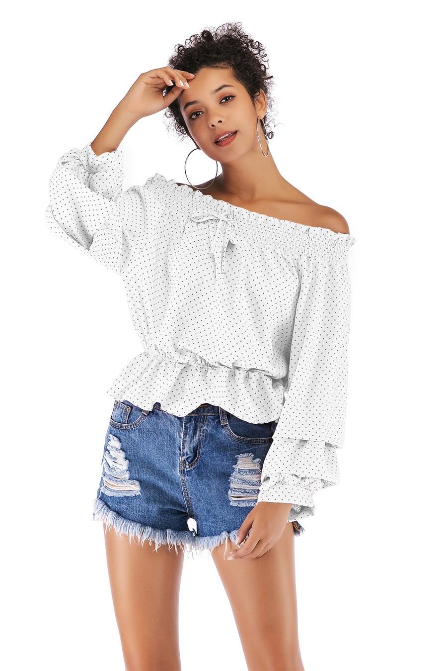 Gladiolus Chiffon Blouse Women 2019 Spring Autumn Long Sleeve Polka Dot Off Shoulder Sexy Blouses Women Shirts Ruffles Blusas (22)
