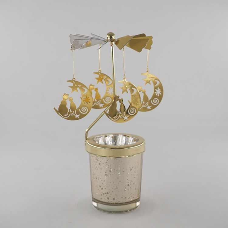 עץ חג המולד איילי סנטה קלאוס פמוט מסתובב רומנטי ספין קרוסלת תה אור נר מחזיק ארוחת ערב לאור נרות דקור